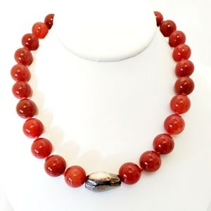Vintage large Carnelian bead and sterling silver necklace
